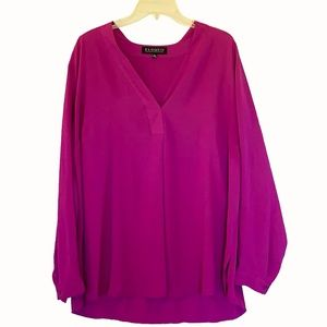 Eloquii Pleated Vneck Purple Tunic Blouse Top 18